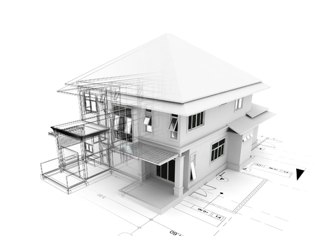 modern architecture: 3d render of house on plan