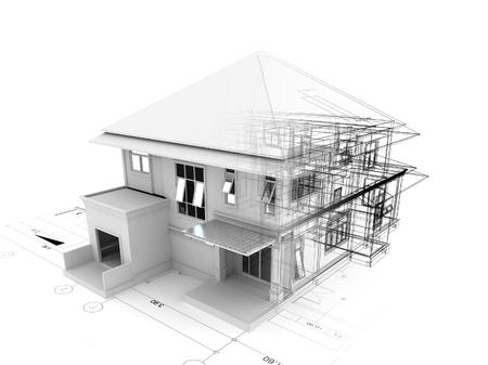 Rendering 3D di casa su piano