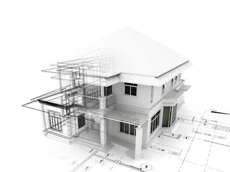 3D render van huis op plannen Stockfoto