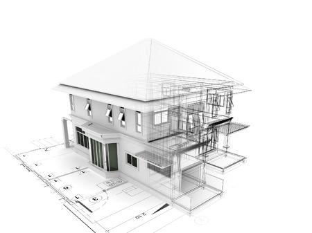 Render 3D de casa en plan Foto de archivo - 46696217