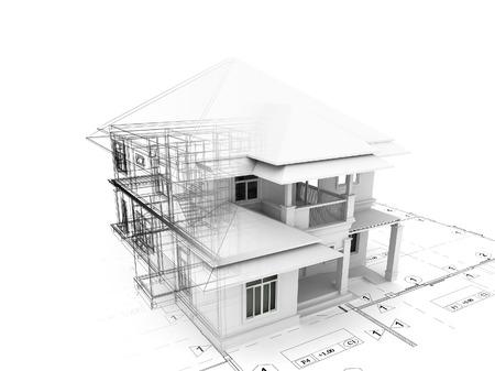 3d render de la maison sur le plan Banque d'images - 46696347