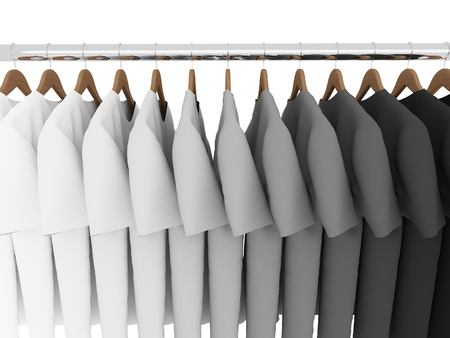 black and white t-shirts with hangers isolated on white,3d Stock Photo