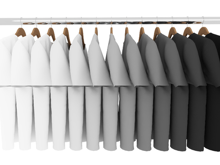 closet rod: black and white t-shirts with hangers isolated on white,3d Stock Photo