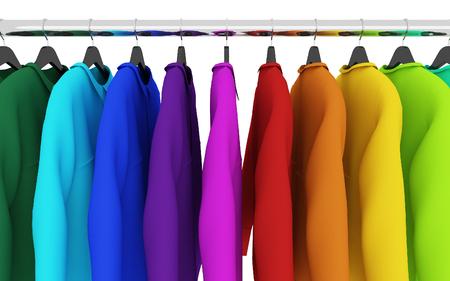 in  shirt: camisas de colores con perchas aislados en blanco, 3d