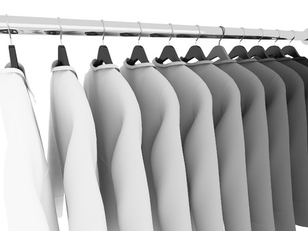 closet rod: black and white shirts with hangers isolated on white,3d Stock Photo