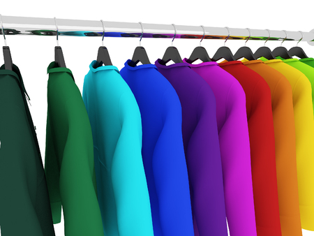closet rod: colorful shirts with hangers isolated on white,3d