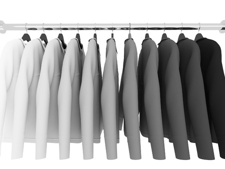 shirts on hangers: black and white shirts with hangers isolated on white,3d Stock Photo