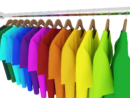 closet rod: colorful t-shirts with hangers isolated on white,3d