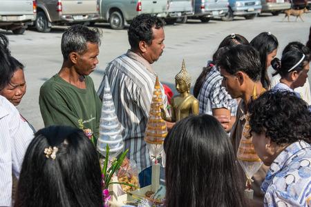samutprakarn: Samutprakarn, THAILAND - OCT 28 : Buddhist monks are given food offering from people for End of Buddhist Lent Day. on October 28, 2015 in Samutprakarn, Thailand. Editorial
