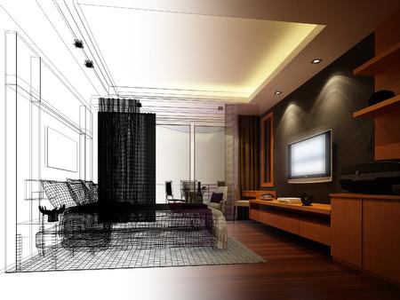 arquitecto: diseño resumen boceto de un dormitorio interior Foto de archivo