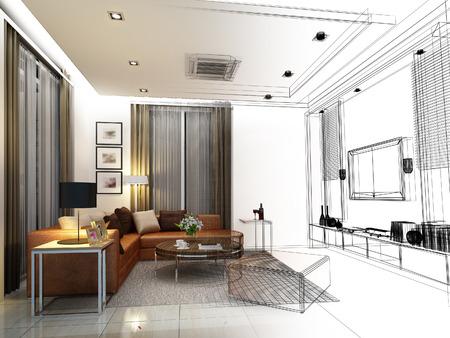 schetsontwerp van het interieur living Stockfoto