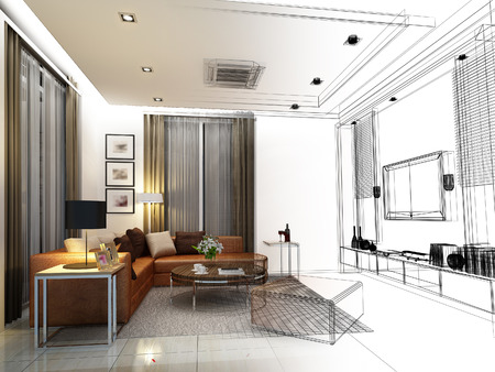interior design: sketch design of interior living