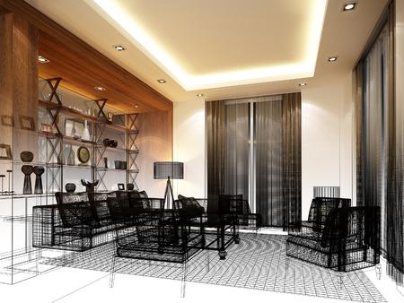 modern interior design: sketch design of interior living