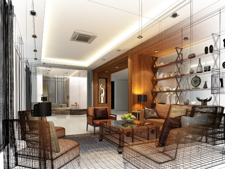 living: sketch design of interior living