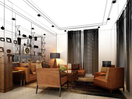 interior design: sketch design of interior living