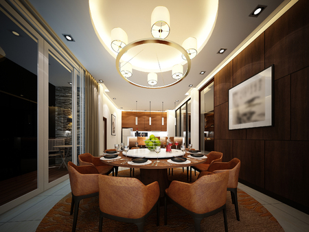 family eating: 3d render of interior dining room
