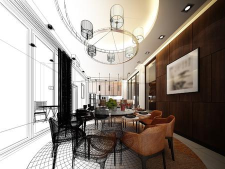 interior design: abstract sketch design of interior dining room Stock Photo