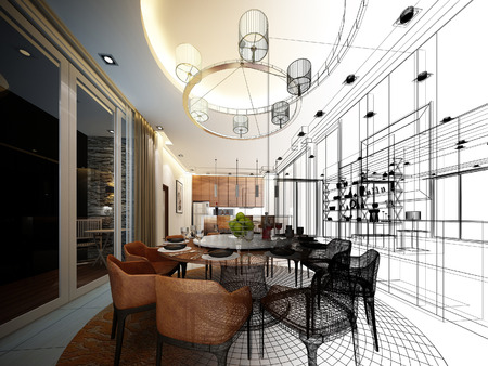 abstract sketch design of interior dining room Stock Photo
