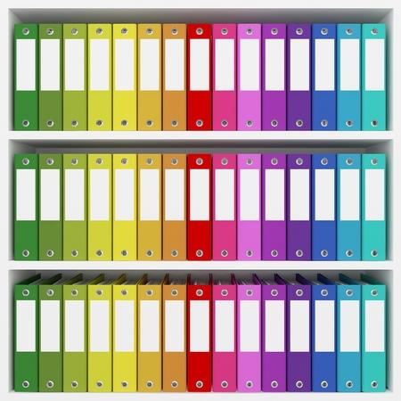 book racks: colorful office folders on the shelves