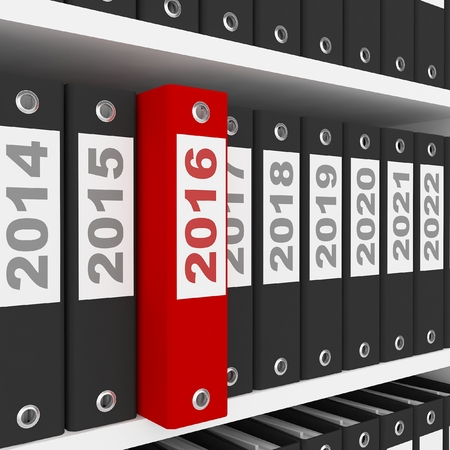 image date: Office Folders with New Year 2016 Sign on the shelves