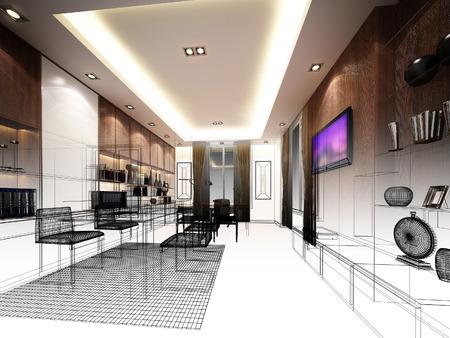 interior design: sketch design of interior working room, wire frame