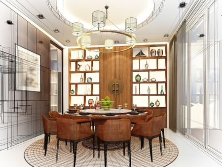 dining table: abstract sketch design of interior dining room Stock Photo