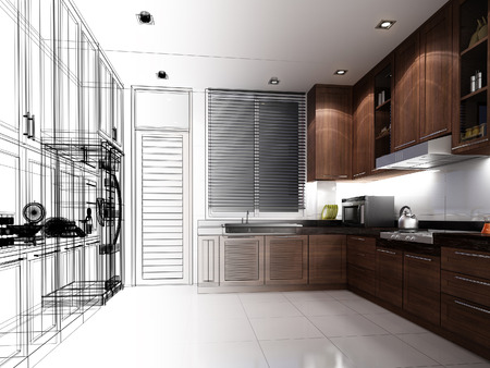 interior design: abstract sketch design of interior kitchen