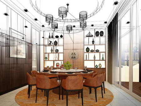dining room: abstract sketch design of interior dining room Stock Photo