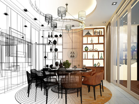 sketch: abstract sketch design of interior dining room Stock Photo