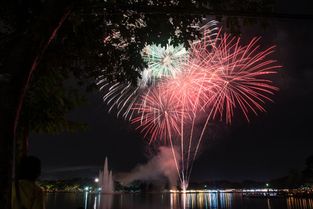 5 december: firework in suanloung park thailand on 5 december 2015, father day.