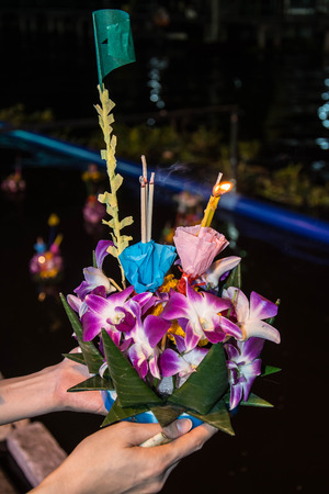 apologize: Loy Krathong festival in Thailand. The annual ceremony to apologize the God of river