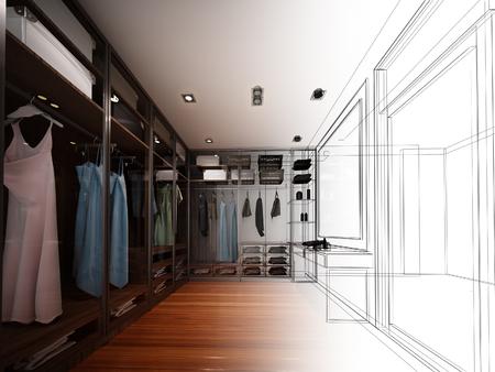 disegno astratto disegno di interni cabina armadio