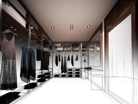 interior design: abstract sketch design of interior walk-in closet