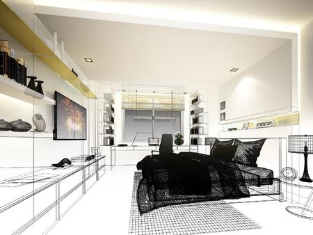 bedroom design: abstract sketch design of interior bedroom