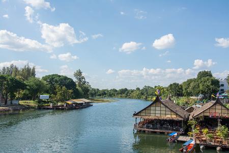 kanchanaburi: floating house in river Kwai.  Kanchanaburi of Thailand.