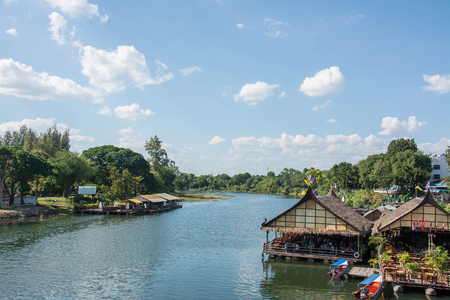 floating house in river Kwai.  Kanchanaburi of Thailand.