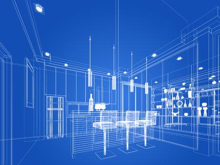 modern architecture: abstract sketch design of interior kitchen