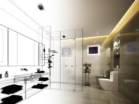 内部のバスルームの抽象的なスケッチ デザイン 写真素材
