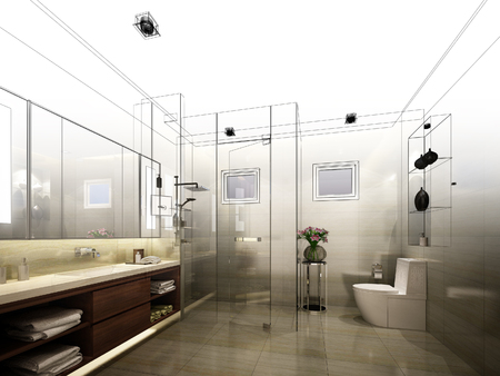 living room design: abstract sketch design of interior bathroom Stock Photo