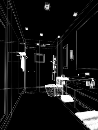 bathroom interior: abstract sketch design of interior bathroom Stock Photo