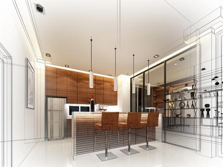 Abstrakte Skizze Gestaltung von Innen Küche Standard-Bild - 50113432