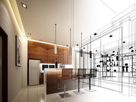 window bars: abstract sketch design of interior kitchen