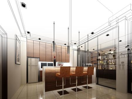 arquitectura: diseño de dibujo abstracto de entre cocina Foto de archivo