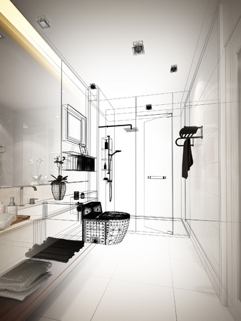 sketch: abstract sketch design of interior bathroom Stock Photo