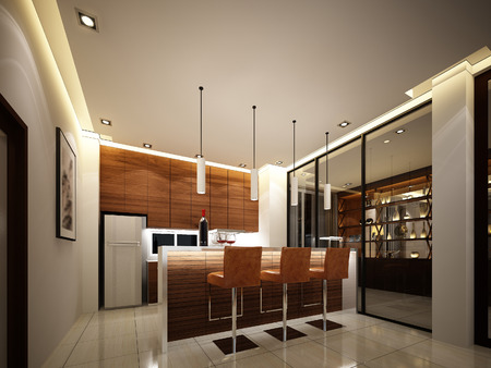 bar stool chair: 3d render of interior kitchen