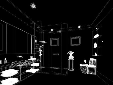 interior design: abstract sketch design of interior bathroom Stock Photo