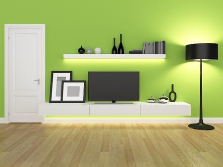 verde salotto con porta tv e libreria - rendering