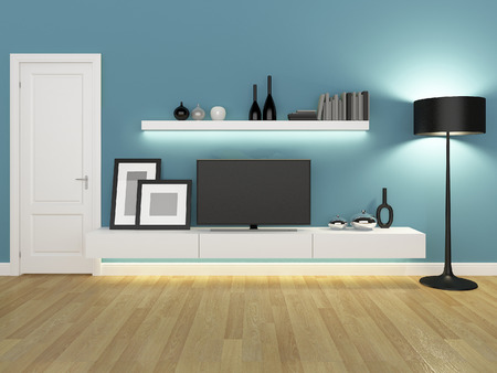 living room wall: blue living room with tv stand and bookcase - rendering