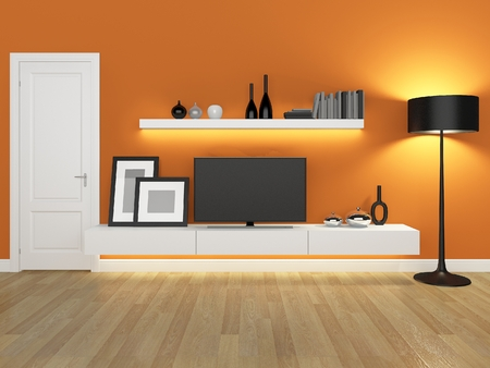 tv stand: orange living room with tv stand and bookcase - rendering Stock Photo