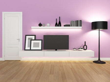 tv stand: pink living room with tv stand and bookcase - rendering